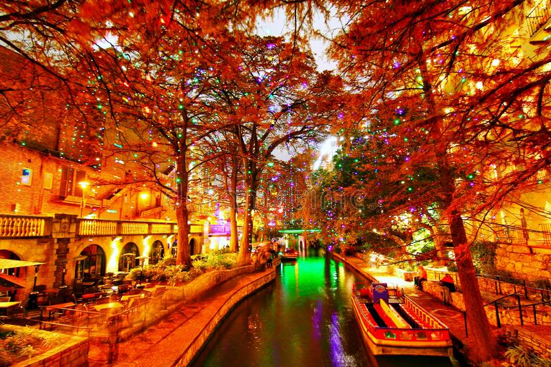 River Walk in San Antonio. Christmas decorations in Milan Park in downtown San Antonio, Texas. A bustling place with many restaurant and bars royalty free stock images