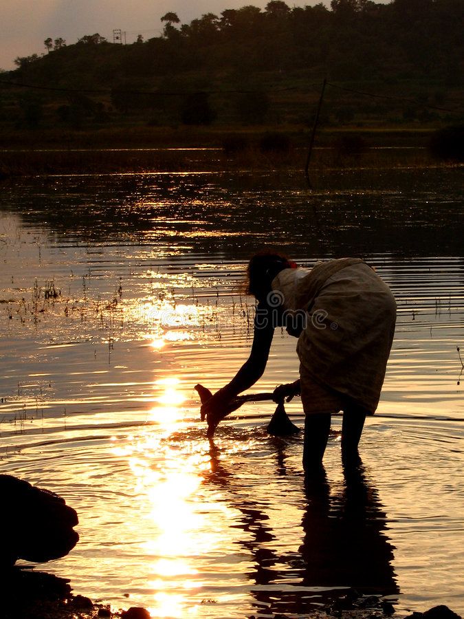 River Wash. A poor Indian woman washes her clothes in a river at sunset royalty free stock image