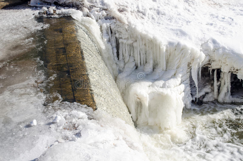 River water cascade waterfall fall ice snow winter royalty free stock photography