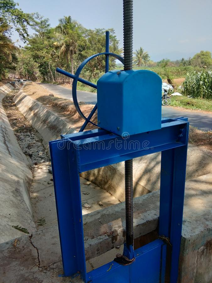 River water flow regulators in irrigation dams royalty free stock photo