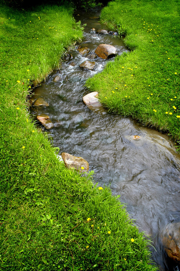 River Water on Rocks. River water flowing past rocks and stones in green meadow royalty free stock images