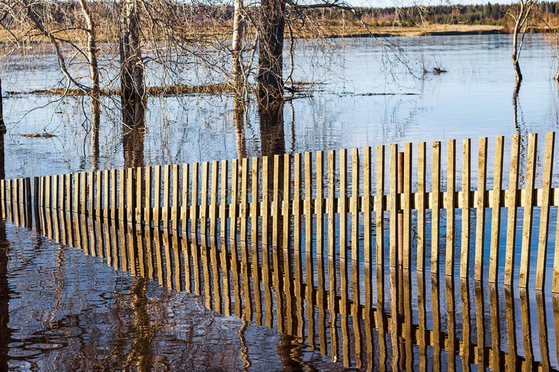 Water spring came out of the shore and flooded the fence stock photos