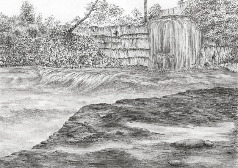 River with waterfall and cliff vector illustration