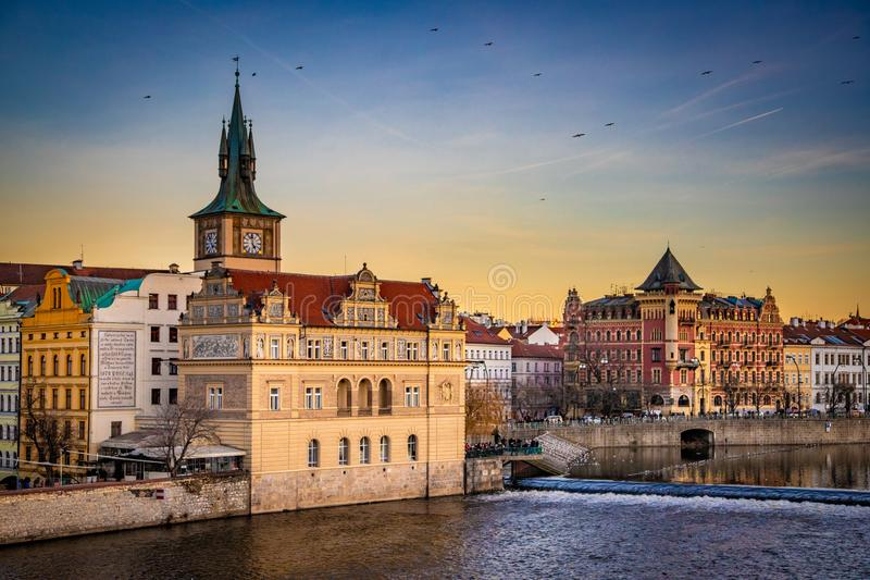 Waterfront of historic Prague, Czech Republic. River waterfront in historic Old Town Prague, Czech Republic stock photo