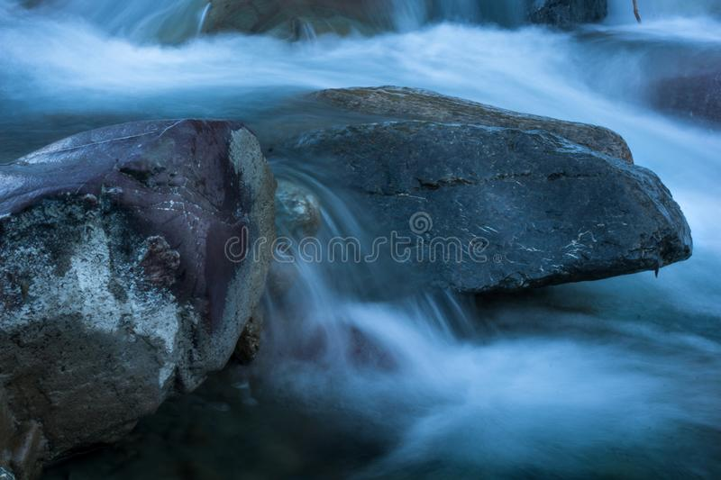 River in winter landscape long exposure stock photo