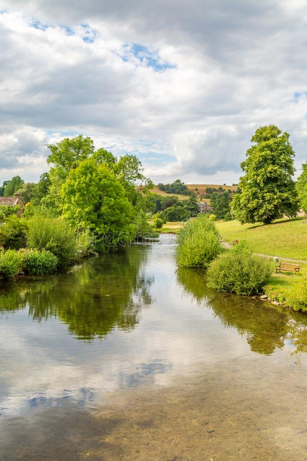 The River Wye, Bakewell. The River Wye in Bakewell, Derbyshire on a sunny summers day stock photos
