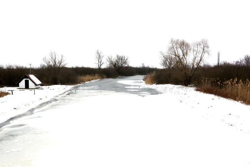 River Zala at Lake Balaton in wintertime stock photo