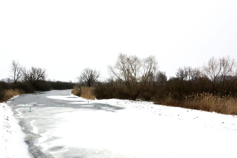 River Zala at Lake Balaton in wintertime stock images