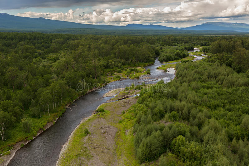 River Zhupanova. Kronotsky Nature Reserve on Kamchatka Peninsula. View from helicopter stock photography