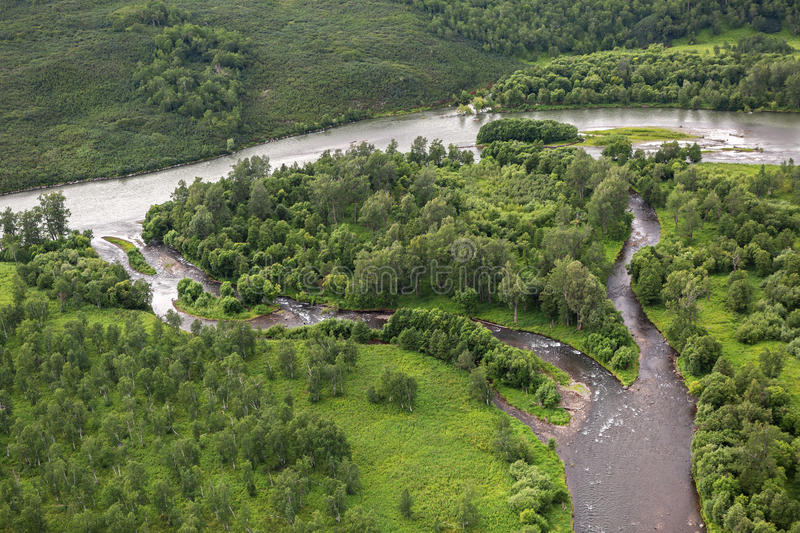 River Zhupanova. Kronotsky Nature Reserve on Kamchatka Peninsula. View from helicopter stock image