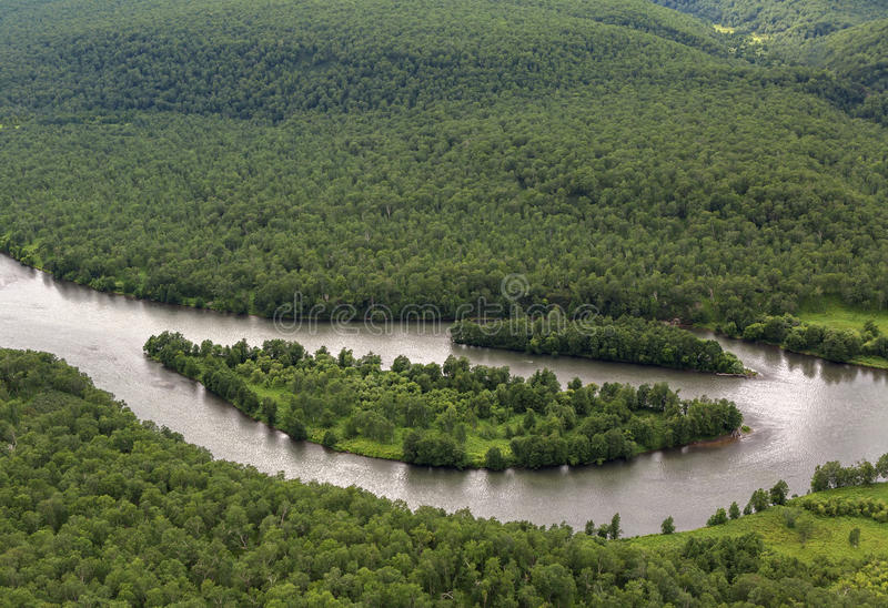 River Zhupanova. Kronotsky Nature Reserve on Kamchatka Peninsula. View from helicopter stock photo