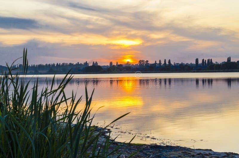 Riverbank bij zonsondergang stock fotografie