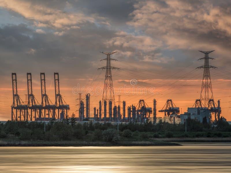 Riverbank con las siluetas de las gr?as durante una puesta del sol, puerto de la terminal de contenedores de Amberes, B?lgica imagen de archivo libre de regalías