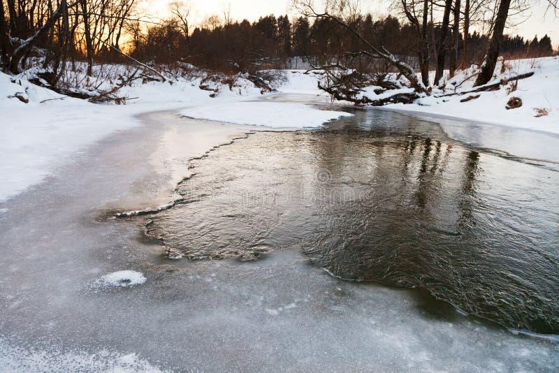 Riverbank congelado de la secuencia del bosque fotografía de archivo