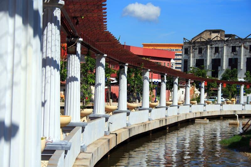 Riverbank da cidade de Melaka imagem de stock