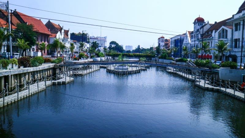 Riverbank in Djakarta royalty-vrije stock foto's