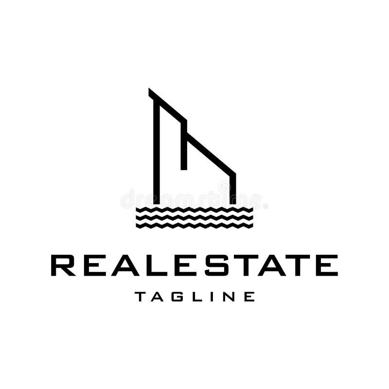 Riverbank real estate logo design template stock illustration