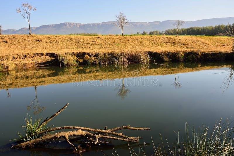 Riverbank 3. Reflections in still water at river bank holiday farm Skeerpoort South Africa, Magaliesberg Mountains in the back drop stock photos