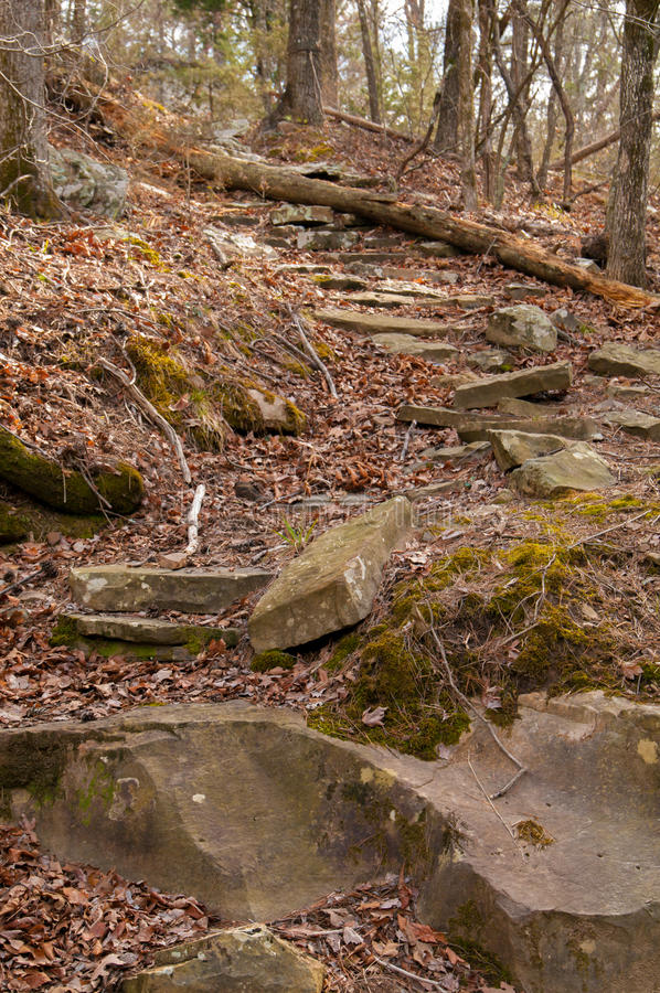 Riverbank in Robbers Cave. Path along the riverbank in Robbers Cave State Park in Oklahoma, USA stock photo