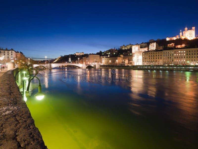 riverbank saone pont lyon bonaparte стоковое изображение rf