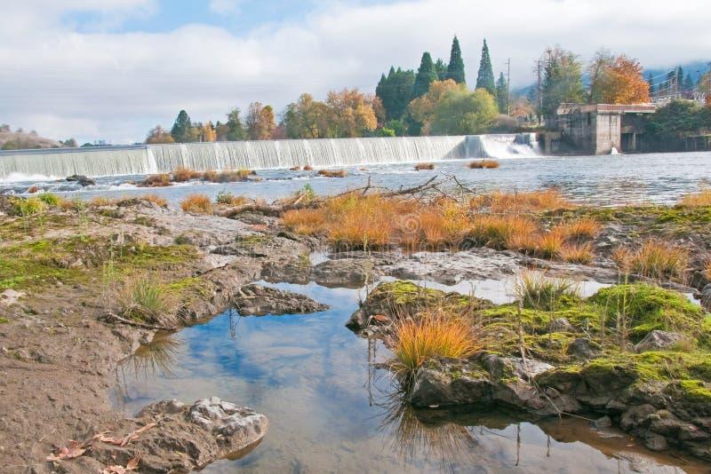 Riverbank at Umpqua Dam royalty free stock photo