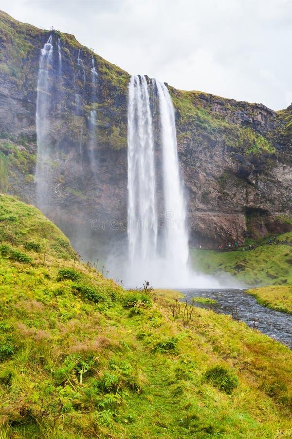 riverbank y cascada verdes de Seljalandsfoss imagen de archivo libre de regalías