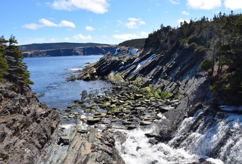 Riverbed i ocean wzdłuż Srebnej kopalni Przewodzimy ścieżkę fotografia stock
