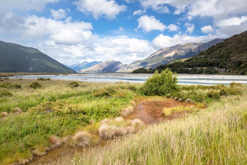 riverbed landscape scenery Arthur's pass in south New Zealand royalty free stock photography