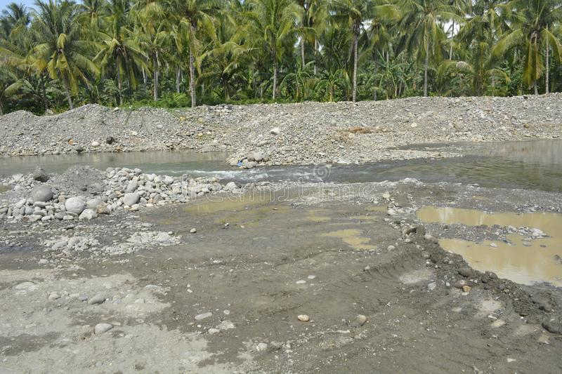 Riverbed of Mal river, Matanao, Davao del Sur, Philippines. This photo shows the rivebed of Mal river, Matanao, Davao del Sur, Philippines stock photo