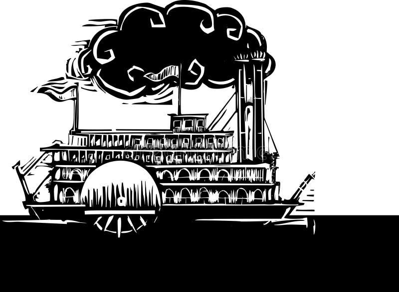 Riverboat laterale della ruota in fiume scuro illustrazione di stock