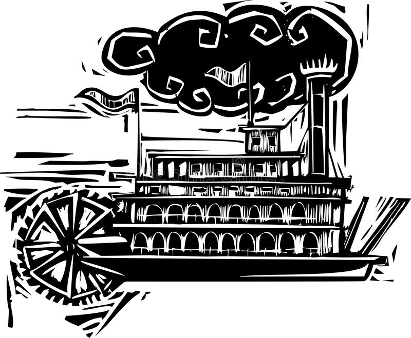 Riverboat severo della ruota dell'intaglio in legno illustrazione di stock