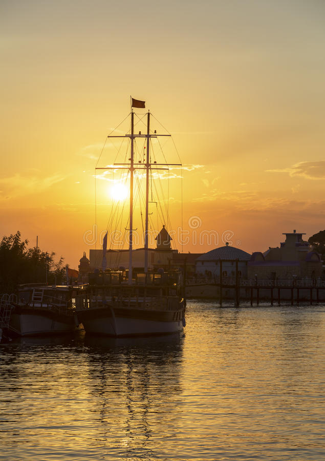 Riverboat at sunset stock photo