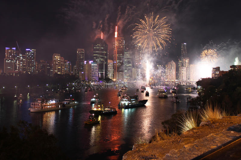 Riverfire Fireworks royalty free stock photography