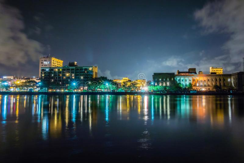 Riverfront board walk scenes in wilmington nc at night stock photography