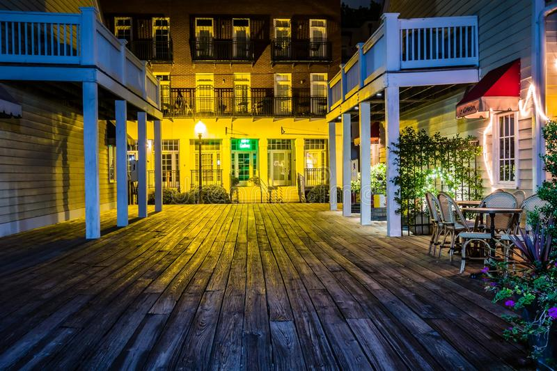 Riverfront board walk scenes in wilmington nc at night royalty free stock photos
