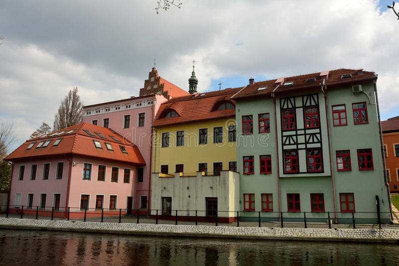 Riverfront of Brda river in Bydgoszcz, Poland. Residential building on the bank of Brda river in Bydgoszcz, Poland royalty free stock image