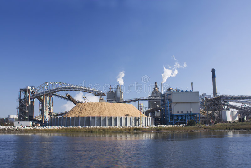 Riverfront papermill royalty free stock photo