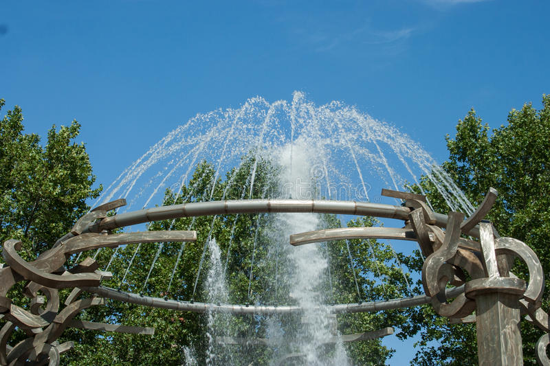 Riverfront Park Fountain. This is the iconic fountain in Riverfront Park in Spokane, Washington where kids play in the changing water patterns royalty free stock photography