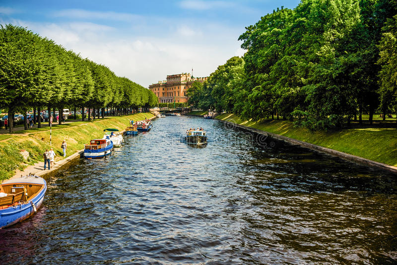 Rivers and canals in St. Petersburg. stock photo