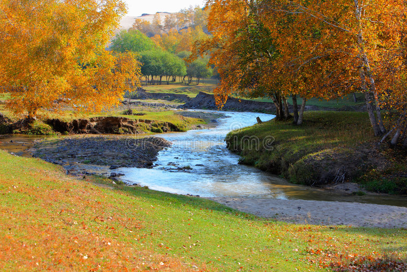 Rivers on Chinese Inner Mongolia dam prairie royalty free stock photo