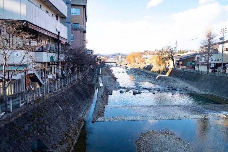 Rivers in villages in Japan in winter season. Water in a dry stream in the winter. Rivers in villages in Japan in winter season stock images