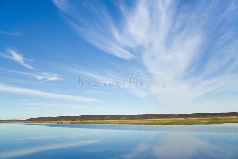 Riverscape with flood stock photography