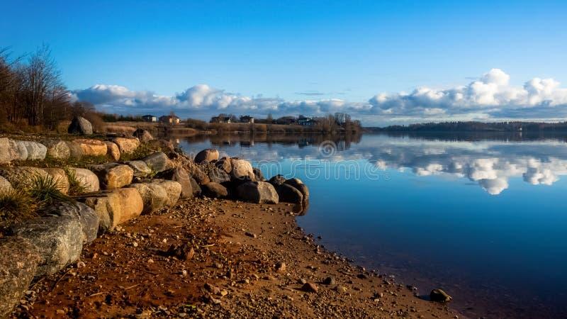 riverside Albero nel campo Riflessioni della nuvola in acqua fotografia stock