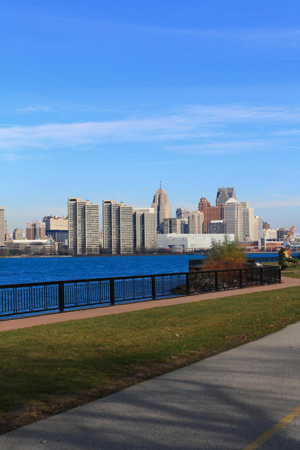Riverside of Detroit river. I walk by the side of Detroit river, it is so beautiful royalty free stock images