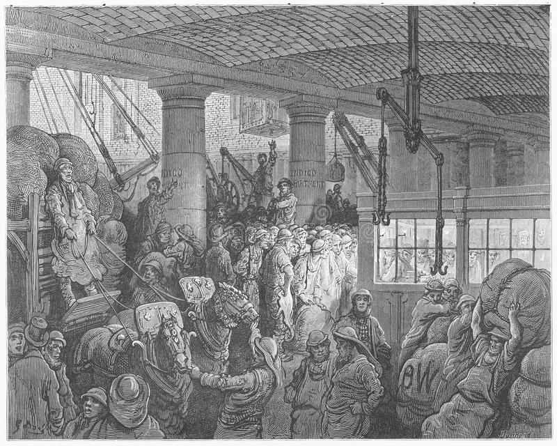 A Riverside full Street. Picture from Gustave Dore's London: a Pilgrimage illustrated book published in 1873, London - UK