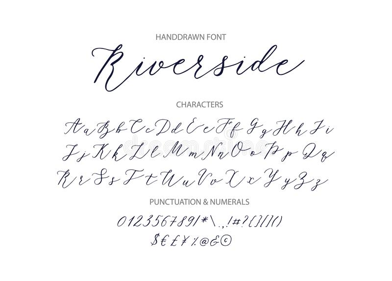 Riverside - handwritten Script font. Hand drawn brush style modern calligraphy cursive typeface. Vector Brush type set stock illustration