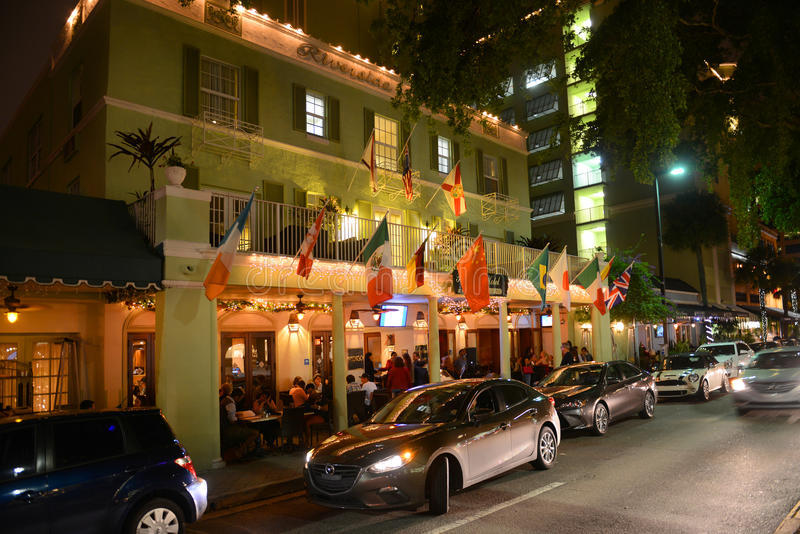 Riverside Hotel on Las Olas Boulevard, Fort Lauderdale. Riverside Hotel on Las Olas Boulevard at night, Fort Lauderdale, Florida, USA stock photos