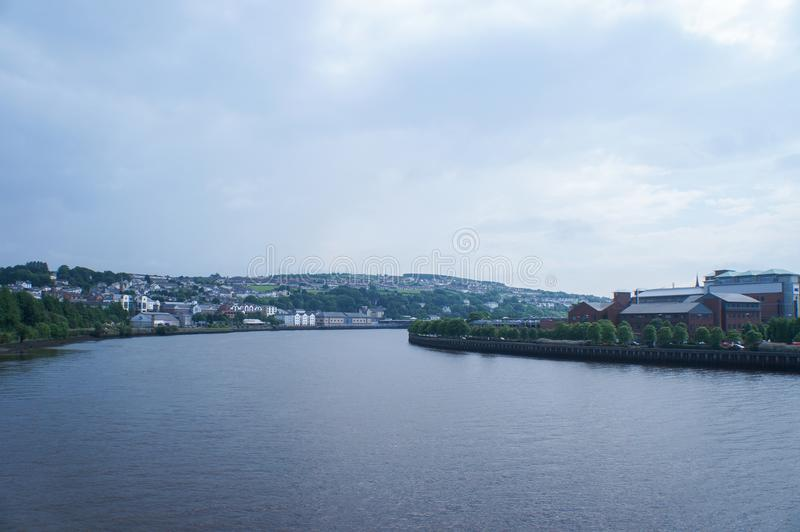 Riverside in londonderry. Cloudy day royalty free stock images
