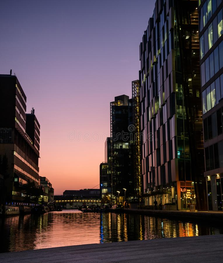 Riverside Modern Buildings in Sunset royalty free stock photo