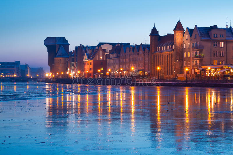 Download Riverside Of Old Town In Gdansk At Dusk Stock Photo - Image of brick, baltic: 23361834